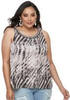 JLO by Jennifer Lopez Plus Size Print Ruffled Crepe Tank Top