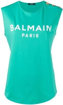 Balmain Buttoned Logo Tank Top