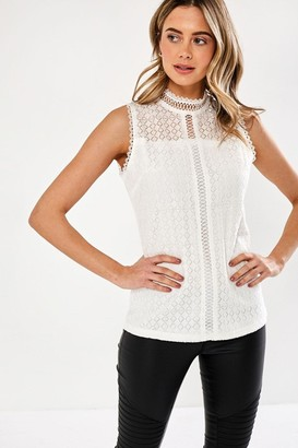 iClothing Yoko Lace Detail Top in White