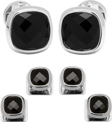 Cufflinks Inc. Men's Faceted Onyx Cushion Stainless Steel Stud Set