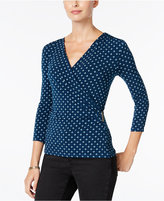 Charter Club Geo-Print Faux-Wrap Top, Only at Macy's