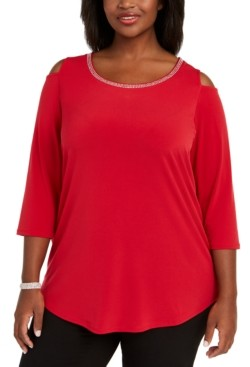 JM Collection Plus Size Diamonte-Trim Cold-Shoulder Tunic, Created for Macy's