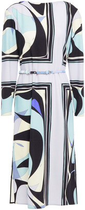 Emilio Pucci Belted Printed Wool-blend Jersey Dress
