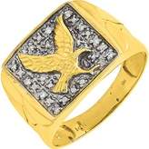 Quality Mens . Ct. T.W. Diamond Eagle Ring inK Yellow and Rhodium