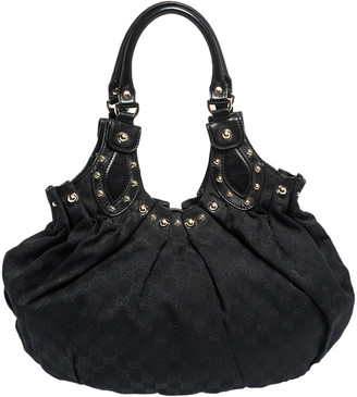 Gucci Black GG Canvas and Leather Pelham Studded Hobo