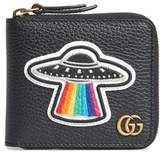 Gucci Men's Patchy Zip-Around Leather Coin Wallet - Black