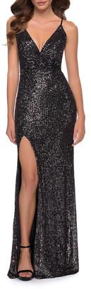 La Femme Sequin V-Neck Strappy-Back Column Gown