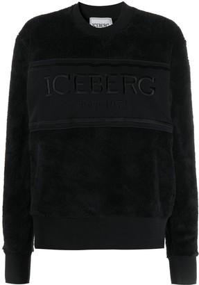 Iceberg Embroidered Logo Faux-Fur Sweatshirt