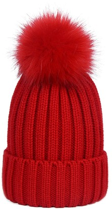 Simcat Womens Girls Winter Hat Wool Knitted Beanie with Large Pom Pom Cap Ski Snowboard Hats Bobble (Light Red)(Size: One Size)