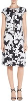 St. John Abstract Black & White Floral Print Fit & Flare Dress