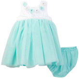 Little Me Aqua Mesh Dress & Panty Set (Baby Girls)
