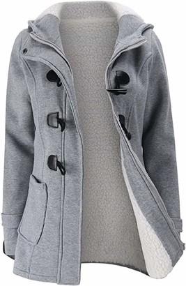 BEUHOME Women's Windproof Warm Coat Winter Casual Fleece Coat Classic Cotton Hoodie Jacket Ladies Slim Fit Jacket Light Gray