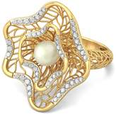 PEACOCK JEWELS Certified 18K Gold (HallMarked), 0.31 cttw White Diamond (IJ | SI ) Off White Pearl and Diamond Engagement Wedding Ring Size - 9