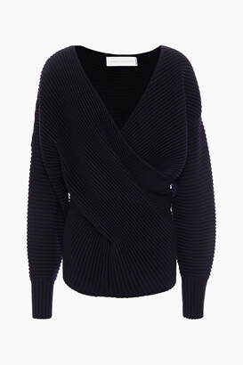 Victoria Victoria Beckham Wrap-effect Ribbed Wool Sweater
