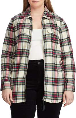 Chaps Plus Long-Sleeve Zip Plaid Shirt