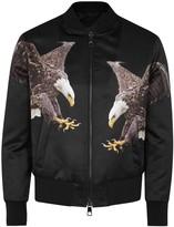 Neil Barrett Flying Eagle Black Satin Bomber Jacket