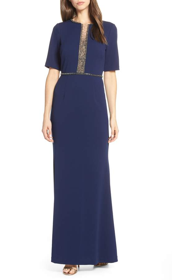 Adrianna Papell Beaded Crepe Evening Dress