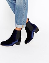 Selected London Navy Velvet Chelsea Boots