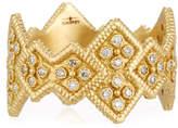 Armenta Sueno 18k Wide Crivelli Band Ring w/ Diamonds, Size 6.5