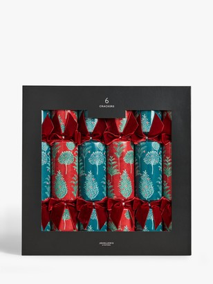 John Lewis & Partners Renaissance Trees Christmas Crackers, Pack of 6, Red / Blue