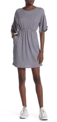 GOOD LUCK GEM Cinched Waist Striped Knit Dress