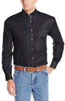 Wrangler Men's George Strait One Pocket Long Sleeve Grey/Black Woven Shirt