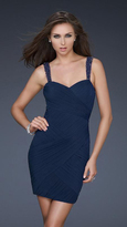 La Femme Beaded and Gathered Sweetheart Sheath Dress 16966