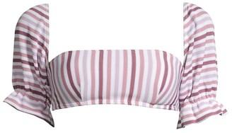 Peony Swimwear Striped Puff-Sleeve Bandeau Bikini Top