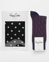 Happy Socks Happy Sock Woven Boxers And Socks Set - Black