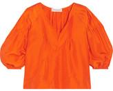 Apiece Apart Tan Tan Pintucked Silk-satin Blouse - Orange