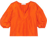 Apiece Apart Tan Tan Pintucked Silk-satin Blouse