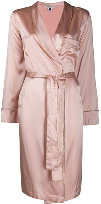 Gilda & Pearl Silk Robe With Gold Piping