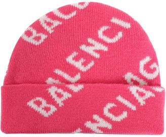 Balenciaga Intarsia Logo Print Beanie Pink/white