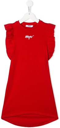 MSGM Kids contrast logo dress