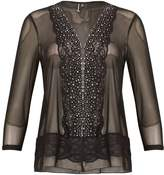 Izabel London Sheer Sparkle Trim Cardigan