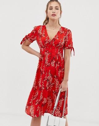 Brave Soul adrianna floral tie sleeve midi dress-Red