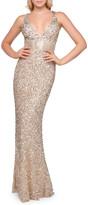 Mac Duggal 6-Week Shipping Lead Time Sequin V-Neck Empire-Waist Sleeveless Column Gown