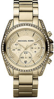 Michael Kors Blair Pavé Crystal & Goldtone Stainless Steel Chronograph Bracelet Watch