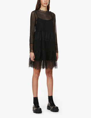 AllSaints Briella semi-sheer stretch-lace mini dress