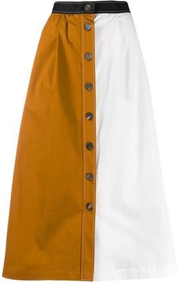 Isa Arfen Colour Block Button-Through Skirt