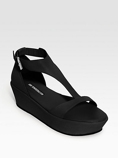 Ann Demeulemeester Leather T-Strap Platform Sandals