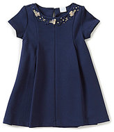 Edgehill Collection Little Girls 2T-6X Pleated Flower-Applique Dress
