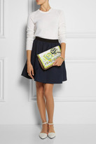 Matthew Williamson Embroidered jacquard and suede clutch