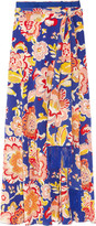 Marcela printed silk wrap maxi skirt