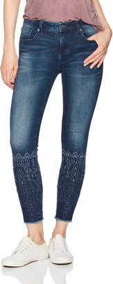 Miss Me Women's Tonal Embroidered Calf Ankle Skinny Denim Jean
