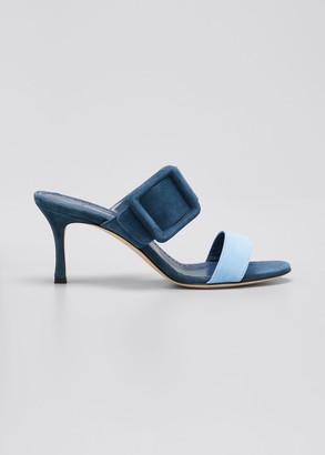 Manolo Blahnik Gable Bicolor Suede Buckle Slide Sandals