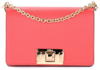 Furla Mimi Mini Shoulder Bag In Strawberry-colored Leather With Shoulder Strap