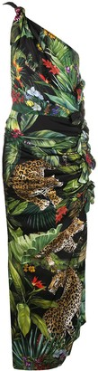 Dolce & Gabbana Jungle Print One Shoulder Dress