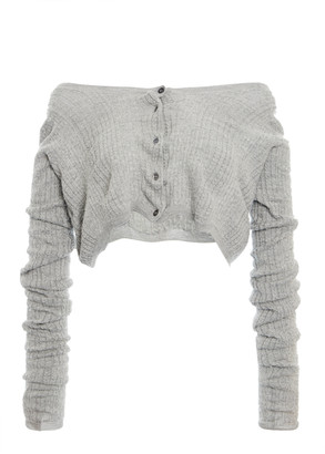 Miu Miu Off-The-Shoulder Ribbed-Knit Cashmere Silk Top