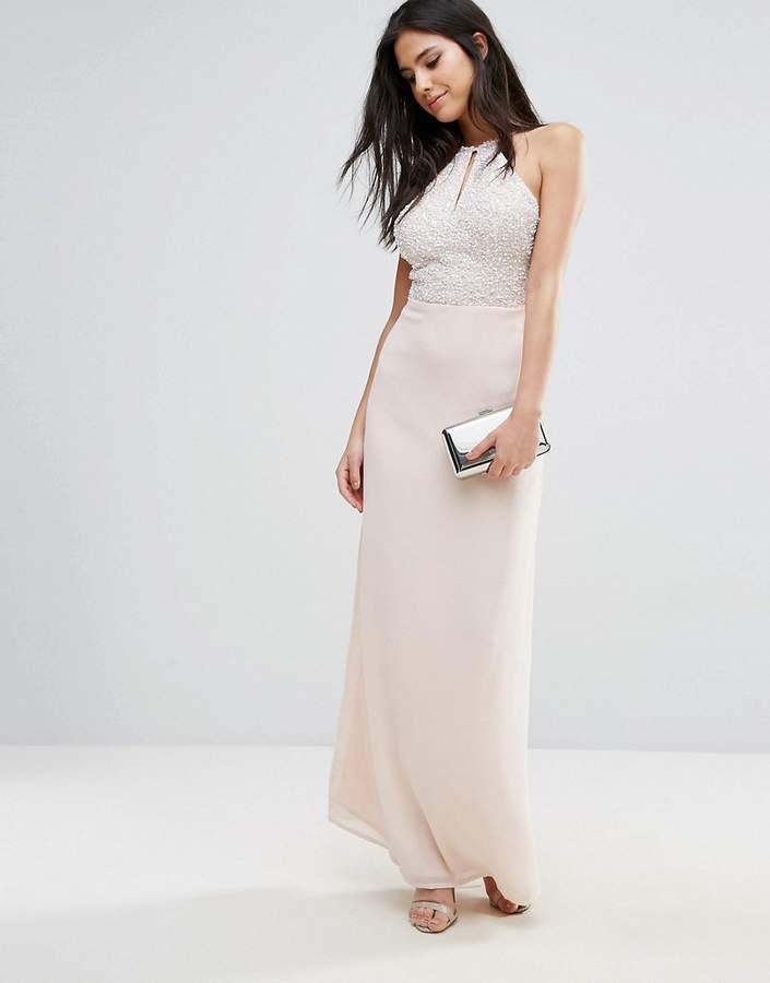 Maya Chiffon Maxi Dress With Embellished Body